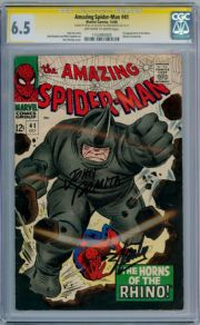 Amazing Spider-man #41 CGC 6.5 Signature Series Signed Stan Lee  John Romita 1st Rhino Marvel comic